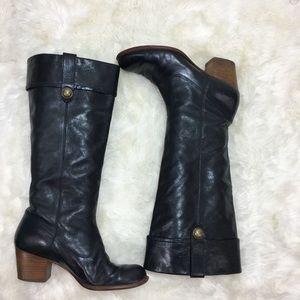 Coach Fayth tall leather black boots wide calf 9.5